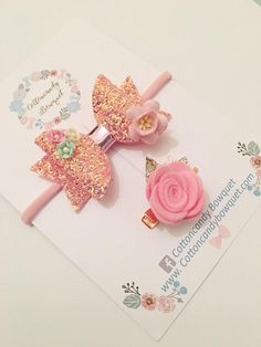 Pink Glitter Hair Bow and Rose Hair Clip Set baby hair bow