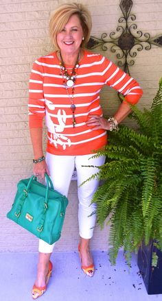 50 IS NOT OLD | ORANGE AND WHITE | Crabby | Summer Outfit | Pop of Color | White Jeans | Fashion over 40 for the everyday woman | Plunder Jewelry