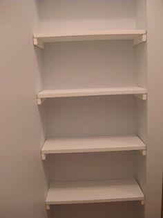 DIY closet shelves idea- brilliant for a small nook! Like in guest bathroom. For baskets, towel rolls etc....