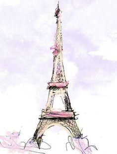 Eiffel Tower in pastels