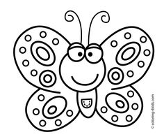 Smiling Butterfly coloring pages for kids, printable free