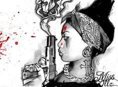 Girls with Bandana Gangster Dope Tattoos, Body Art Tattoos, Girl Tattoos, Urban Tattoos, Tattoo Sketches, Tattoo Drawings, Art Drawings, Gangster Drawings, Modern Art Tattoos