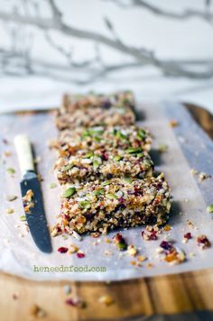 Soft Quinoa, fruit + nut bars: no added sugar and high protein and fiber from the quinoa and nuts. You'll feel fantastic after eating this bar of healthiness!