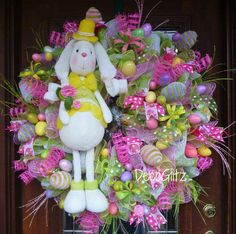 Extra Large EASTER BUNNY Wreath with Easter EGGS by decoglitz