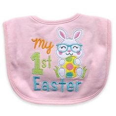 """Hamco """"my First Easter"""" Applique Bib In Pink - Make your baby's first Easter memorable with the """"My First Easter"""" Bib from Hamco. From dinner time to family photos, the adorable design and vibrant colors will be sure to make the day one to remember. My First Easter, Baby Sewing Projects, Hook And Loop Fastener, Cute Bunny, Creative Kids, Clean Up, New Product, Family Photos, Vibrant Colors"""