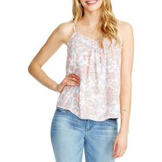 Jessica Simpson Pale Floral Cami Top ($23) ❤ liked on Polyvore featuring tops, pink multi, white tank top, ruffle tank top, white v neck tank top, sleeveless tank tops and v-neck tank top