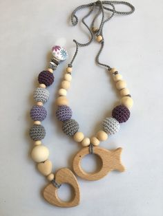 Mommy Necklace, Nursing Necklace, Teething Necklace, Crochet For Kids, Crochet Toys, Crochet Baby, Newborn Toys, Baby Toys, Bullet Jewelry