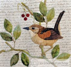 Arn't these extrordinary they dont look like quilts. The Wren Block, square block by Sandra Leichner for The Naturalist's Notebook Series Quilt - applique embroidery bird realistic Bird Quilt Blocks, Quilt Block Patterns, Applique Patterns, Applique Ideas, Bird Applique, Applique Quilts, Embroidery Applique, Small Quilts, Mini Quilts