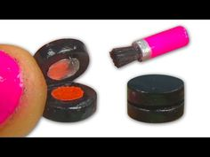 How to make a miniature doll blush (that opens/closes) & a blush brush - Tutorial - Dollhouse DIY ❤ - YouTube