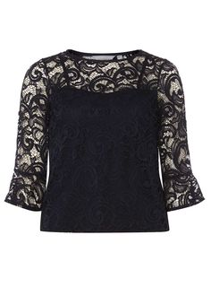 Womens Petite Navy Lace Top- Blue