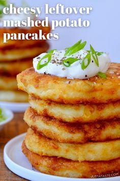 Leftover Mashed Potato Pancakes, Mashed Potato Cakes, Cheesy Mashed Potatoes, Mashed Potato Fritters Recipe, Recipes With Mashed Potatoes, Mashed Potato Patties, Leftover Potatoes, Potato Side Dishes, Veggie Dishes