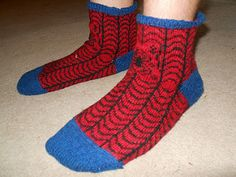 """does whatever a spider can.Look out! Here comes the Spiderman."""" Terri Frid's """"Even Big Guys Love Spideysocks"""" Knitting Patterns Free, Free Knitting, Crochet Patterns, Knitting Ideas, Free Pattern, Knit Or Crochet, Crochet Baby, Knit Stockings, Socks"""