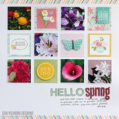 Hello Spring scrapbook layout created by @evapizrrov using @Pebbles Smith Inc. #scrapbook