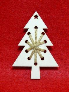 Dřevěný výřez, vánoční sada, stromeček na vyplétání