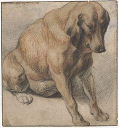 Jacob Jordaens - Sitting pregnant dog