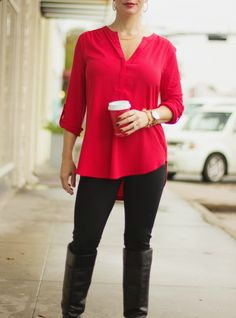 Fall Winter Outfit | Red Tunic + Leggings