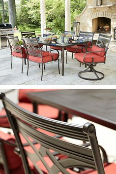 Entertain in style this summer with Hampton Bay's Middletown Patio Dining Set. It includes one rectangular dining table, four stationary dining chairs and two motion dining chairs. The beautiful red fabric complements the rich, roasted brown frames.