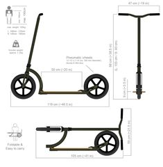 Exploded view of a Swifty Scooter - Salvabrani Scooter Bike, Kick Scooter, Scooter Parts, Electric Bike Kits, Electric Scooter, Scooter Design, Bicycle Design, Build A Go Kart, Three Wheel Bicycle