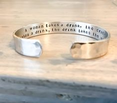 Personalize this Bracelet to Overcome Obstacles, it is Custom made and Hand Stamped with your needs, Name, or Quote Gifts For Fiance, Gifts For Him, Metal Bracelets, Cuff Bracelets, Jewelry Quotes, Personalized Bracelets, Hand Art, Photo Jewelry, Leather Cuffs