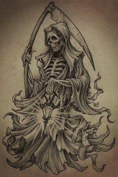 Bad Ass Drawings and Badass Frozen Pencil Drawings - Gigantesdescalzos Skull Tattoo Design, Tattoo Design Drawings, Skull Tattoos, Tattoo Sketches, Evil Tattoos, Body Art Tattoos, Grim Reaper Art, Grim Reaper Tattoo, Grim Reaper Drawings