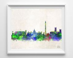 Washington Skyline Poster Watercolor, District of Columbia Print, Cityscape, City Painting, Illustration Art Paint, Wall, Decor [NO 219]