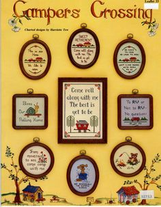 9 Cross Stitch Patterns Campers Crossing by YardageRequired, $4.00
