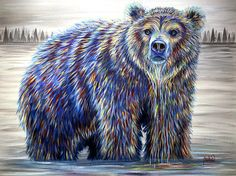 Colorful Contemporary Grizzly Bear in Water Art Painting   Contemporary Western Wildlife Art by Animal Artist Teshia  Original Paintings & Art Prints www.TeshiaArt.com