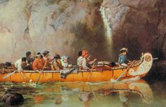 Hudson's Bay Company Fur trade canoe Artist - Frances Anne Hopkins artist, from Montreal. That would be her seated at centre with her husband who was an official with the HBCo. Canadian History, Canadian Art, Beil, Fur Trade, Red Indian, Historical Art, Red River, Mountain Man, Military Art