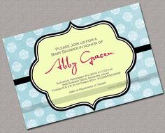 Printable Baby Shower Invitations Neutral Aqua by alittletreasure