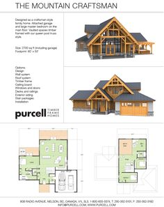 Purcell Timber Frames - The Precrafted Home Company - The Mountain Craftsman  would work by changing office into a bedroom and putting a basement under it for a rec room and storage