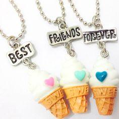 Envío libre BFF de Los Mejores Amigos de resina helado colgante de cuentas de collar de cadena, 3 colores plomo níquel-cadmio libre joyería de los niños