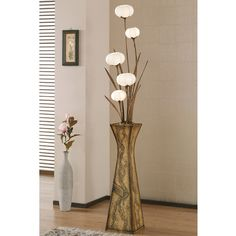 Paper Shade Floor Lamp Fascinating Paper Floor Lamp Shades With Flowerpot Design And Five Windflower Design Inspiration