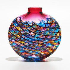 Optic Rib Flat in Boca with Strawberry: Michael Trimpol: Art Glass Vase | Artful Home