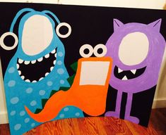 SALE Custom Little Monster Birthday Party Photo Booth 35x44 Large 3 Person Booth *You Pick Colors/Design!*