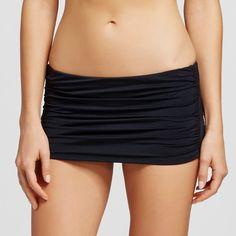 Women's Shirred Skirt Bikini Bottom Black XL - Mossimo