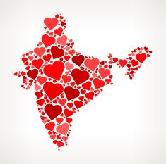 India Icon with Red Hearts Love Pattern vector art illustration