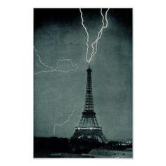 Lightning striking the Eiffel Tower, Paris France Print