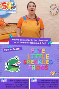 """""""Five Little Speckled Frogs"""" is a super fun song that introduces young learners to numbers. It's perfect for ESL, EFL, preschool, and kindergarten classes! Join Caitie as she shows you how to teach gestures for """"Five Little Speckled Frogs"""" and then shares some of our favorite activities to go along with the song. Includes: - FREE worksheets - FREE printable game Counting Songs, Counting Activities, Montessori Activities, Fun Songs, Kids Songs, Preschool Songs, Toddler Preschool, Phonics Lessons, Five Little"""