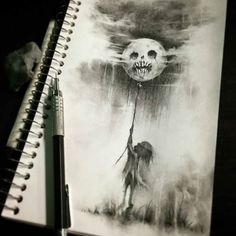 "regram @spotlightonartists ""Moon"" by @cwehrle This artist's work is almost like the continuation of Stephen Gammell's works (Scary Stories to tell in the dark) Shared by @officialjoeymagnum . Want to be featured? Use the hashtag # spotlightonartists on your artwork for a chance to be featured! . No need to ask me to look at your art. ."