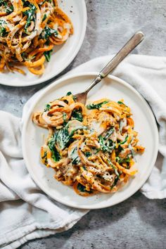 Creamy Spinach Sweet Potato Noodles + Cashew Sauce! | This recipe is healthy comfort food made with simple ingredients that you probably already have on hand. Vegan, vegetarian, gluten free, just everything. | pinchofyum.com