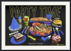 """""""Party Time Neon Blue  Appetizer Designs"""" by Andre Price,  // Deliciously looking appetizer designs, food art created by 3D-Cuisines, creator of realistic looking 3D food models that make you feel hungry. // Imagekind.com -- Buy stunning fine art prints, framed prints and canvas prints directly from independent working artists and photographers."""
