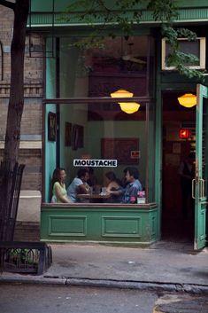Cafe Moustache, west village, New York Cafe Bar, Cafe Shop, Café Restaurant, Restaurant Design, Café Bistro, Deco Cafe, Village Photos, Shop Fronts, West Village