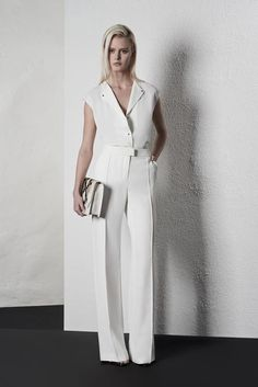Reiss: Venetian laser cut top and Nisa trousers Office Fashion, Business Fashion, Trendy Fashion, Suits For Women, Women Wear, Clothes For Women, Business Casual Outfits, Stylish Outfits, Cream Suit