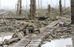 An Australian 4th Division soldier helps a fallen comrade in Chateau Wood, near Hooge in the Ypres salient. 29 October 1917 (Photo source - Australian War Memorial - Ref.No.E04599) Image by Frank Hurley (Colourised by Royston Leonard)