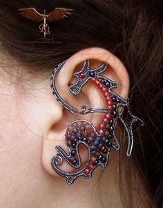 Beaded wire dragon ear wrap