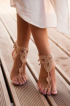 Super elegant barefoot sandals. Perfect for the beach!  | Champagne Barefoot Sandals, Nude shoes, Foot jewelry, Lace shoes, Yoga Anklet , Neutral barefoot sandals, Bridal party, Bridesmaid gifts, women's fashion, women's shoes, beach style, summer fashion #affiliate