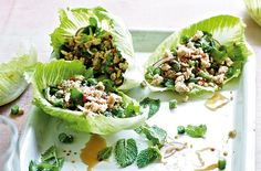 Asian style Turkey larb in cos lettuce cups