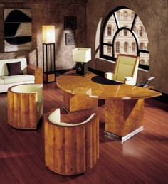 Art deco office, exotic woods with lots of gleaming surfaces.