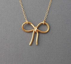 Sweet Bow Gold Necklace also in Silver by jennijewel on Etsy, $23.00