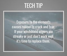 Exposure to the elements causes rubber to crack and tear. If your windshield wipers are streaky or just dont work well its time to replace them. #TipTuesday